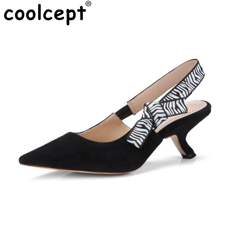 cc3cc10b46c Wholesale Women Real Leather High Heel Slingback Ladies Pointed Toe Bowknot  Summer Shoes Women Office Daily Pumps Size 34 39 Sperry Shoes Silver Heels  From ...