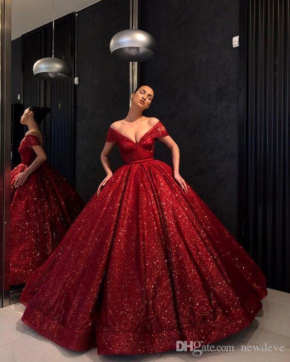 Red Hot Abiti da sera fuori dalla spalla con scollo a V abito di sfera paillettes abiti di promenade 2020 Robes de soirée Special Occasion Dress