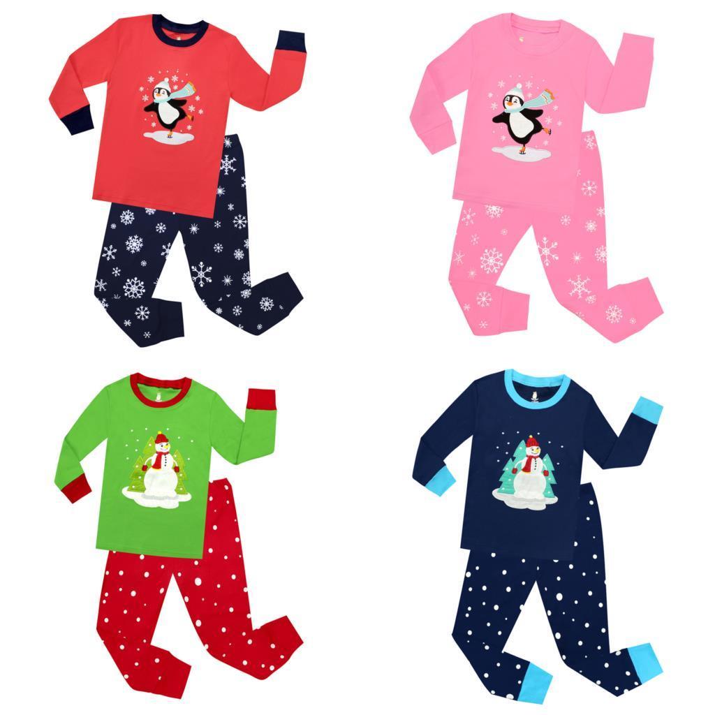 ecb5cd38ddb06 Acheter Enfants Noël Penguin Vêtements De Nuit Enfants Joyeux Noël Bonhomme  De Neige Pyjamas Ensembles Bébé Vêtements De Nuit Garçons Pijamas Filles  Pyjamas ...