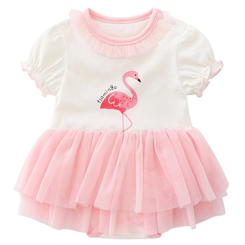 e5fd20910 2019 Baby Girl Clothing Romper Dress Round Collar Short Sleeve ...