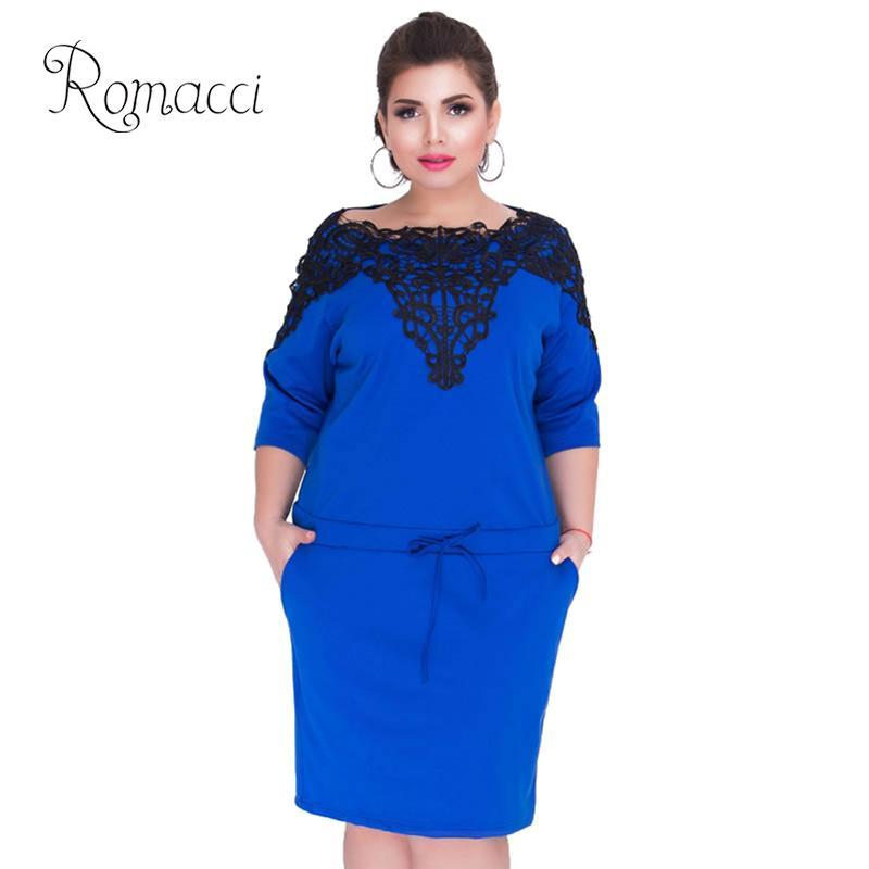 Romacci Elegant Plus Size Dresses Women 4XL 5XL 6XL Lace Splice Drawstring  Dress 3/4 Sleeve O Neck Pockets Bodycon Midi Dress