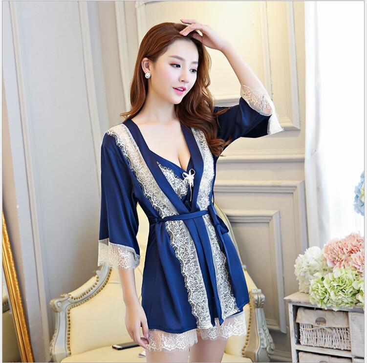 2018 Spring Summer Bathrobe Kimono Robe Sexy Silk Wedding Robes Lace ... e762988dd