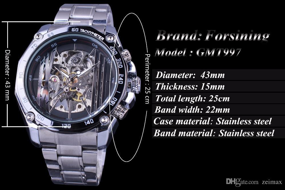 Forsining Militär Sport Design Transparent Skeleton Zifferblatt Silber Edelstahl Herrenuhren Top-marke Luxus Automatische Uhren