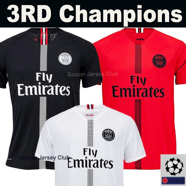 0f8b1a661 18 19 PSG Camiseta PARIS SAINT GERMAIN MBAPPE Camiseta De Fútbol AIR JORDAN  3RD Third Champions 2018 2019 NEYMAR JR Soccer Jersey Football Shirt CAVANI  DI ...
