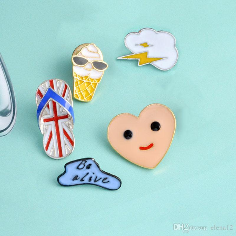 Cartoon Balloon Clouds Heart brooch Smile Face Ice cream Slippers Brooches  Metal Enamel Pins Button Bag Jacket Collar Badge Jewelry dropship