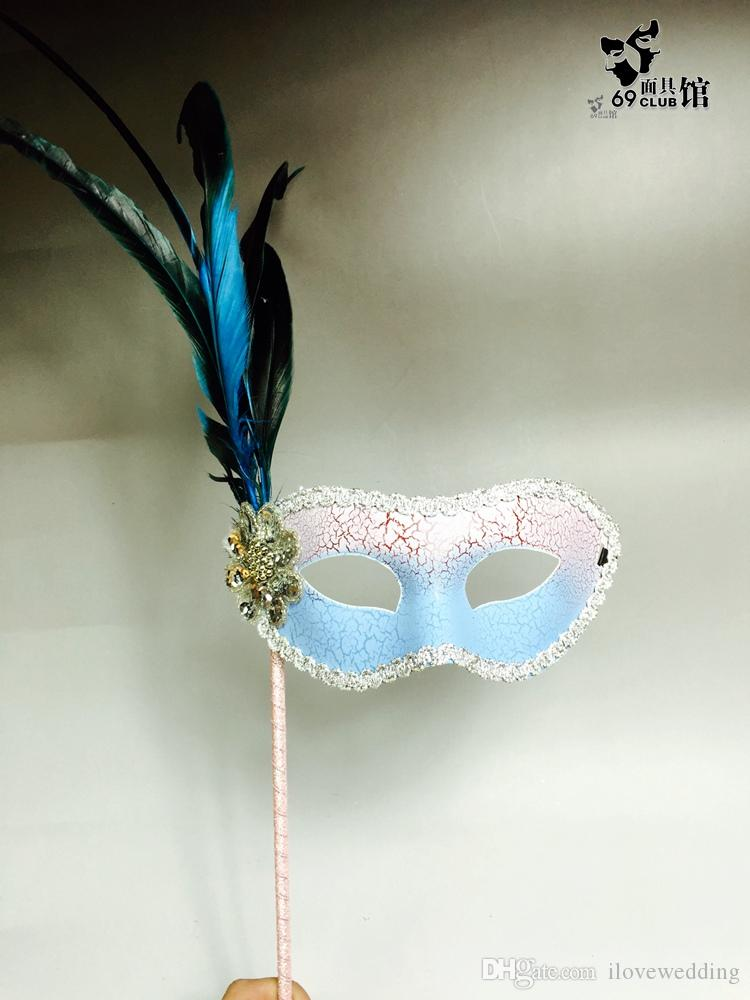 2018 multi-color feather Masquerade Masks Full Face sexy cool bridal masks Halloween Masquerade Masks prom Party Mask for Lady