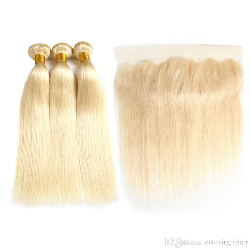 Full 613 Blonde Brazilian Virgin Hair 3 Bundles With 13x4 Lace Frontal Straight 100% Human Hair Weave Blonde Bundles With Frontal Extension