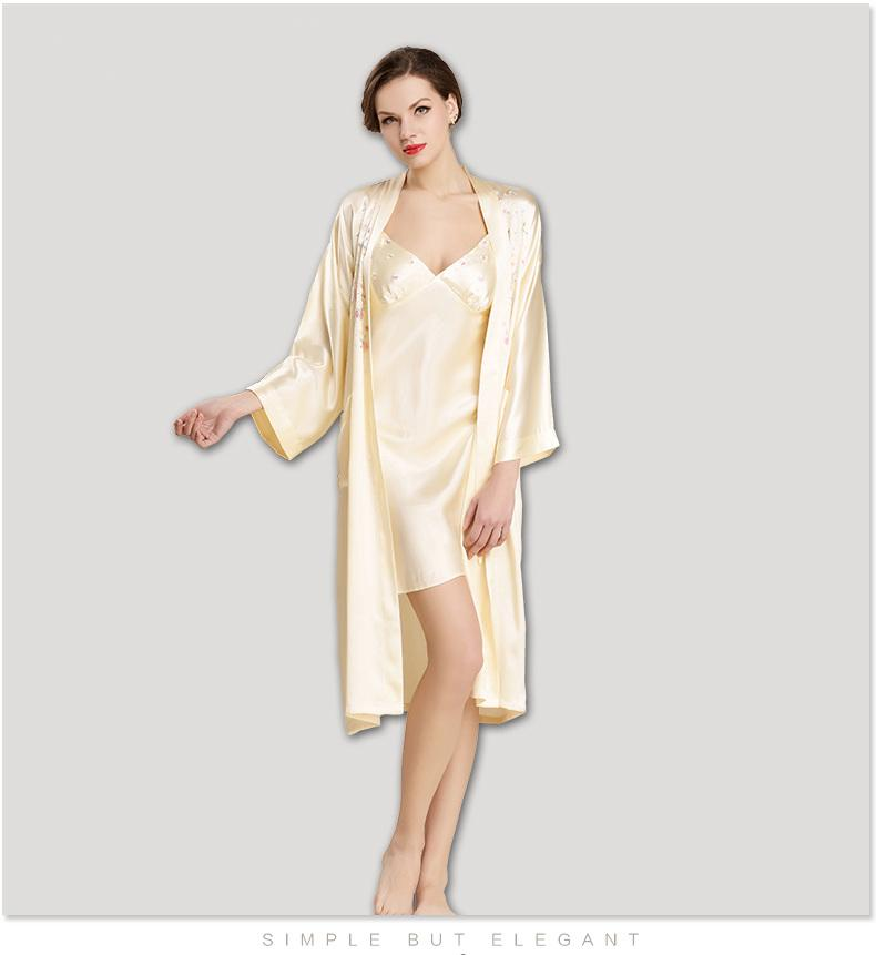 2019 Women S 100% Silk Pajama Set Luxury Sleepwear Pjs Long Silk Robe  Bathrobe Robes Gown Sets Gorgeous Lounge Wear Set Sleepwear From Guocloth ec11c7a3f
