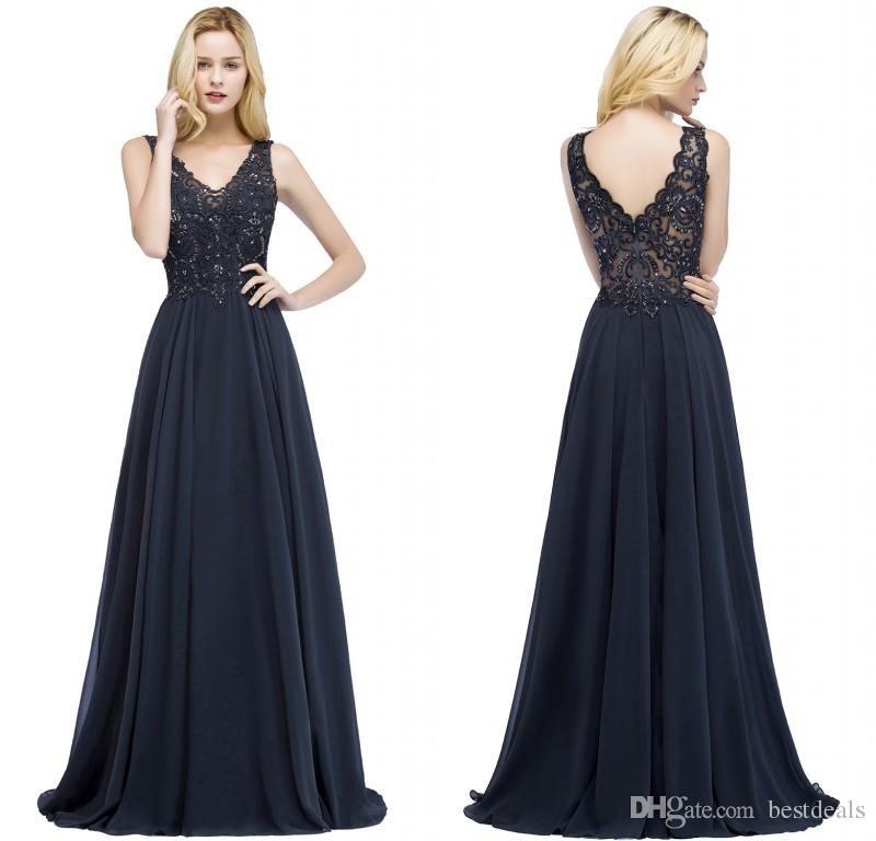 2018 Designer Navy Blue Long Prom Dresses V Neck Beaded Appliqued Lace  Evening Dress Women Party Gowns CPS866 Long Party Dresses Maxi Dresses For  Weddings ... 7724c86074cd