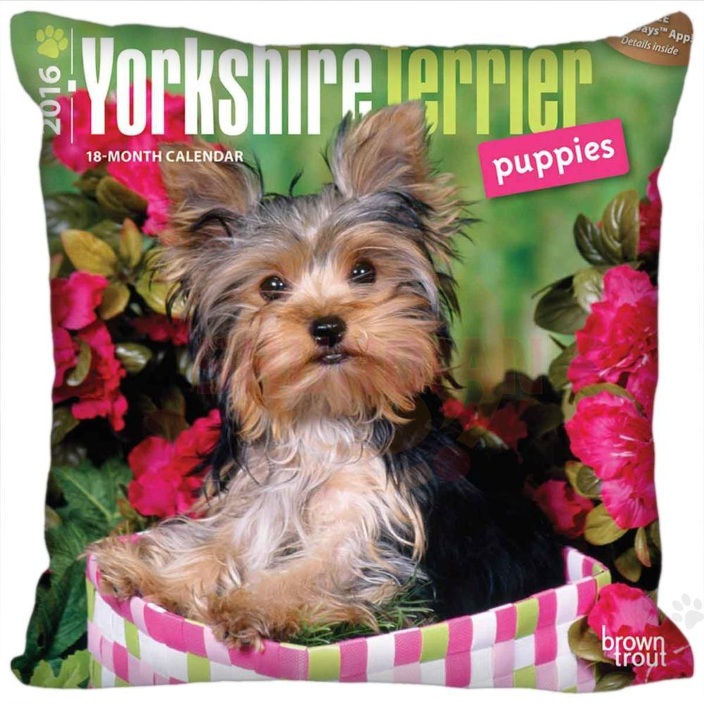 Hot Custom Yorkshire Terrier Dog Pillow Case zipper 35x35cm 40x40cm 45x45cm  60x60cm two sides pillowcase Custom your image