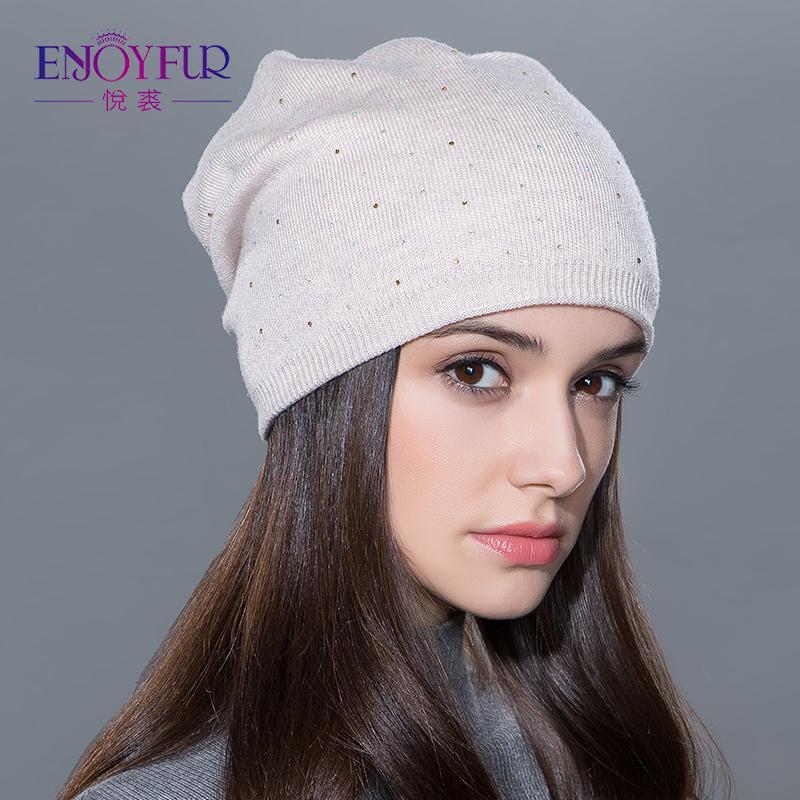 050f223b66eba Women s Winter Hat Knitted Wool Beanies Female Fashion Skullies ...