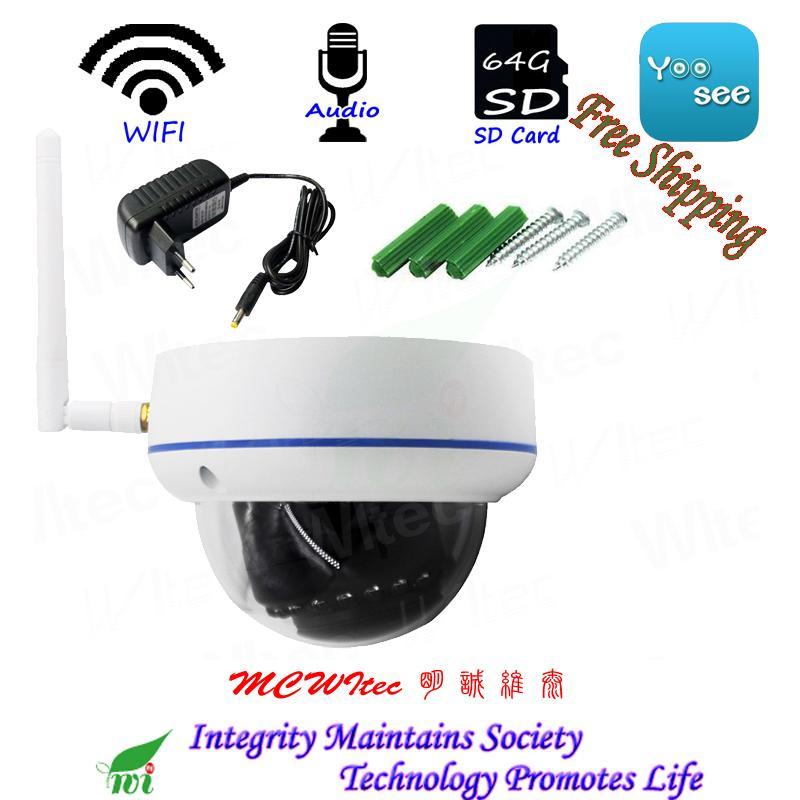 WIFI 1080P 960P 720P IR Dome Vandal proof CCTV Cam RTSP Onvif SD Card IP  Camera Motion Alarm P2P Mobile view Audio Reset IPC