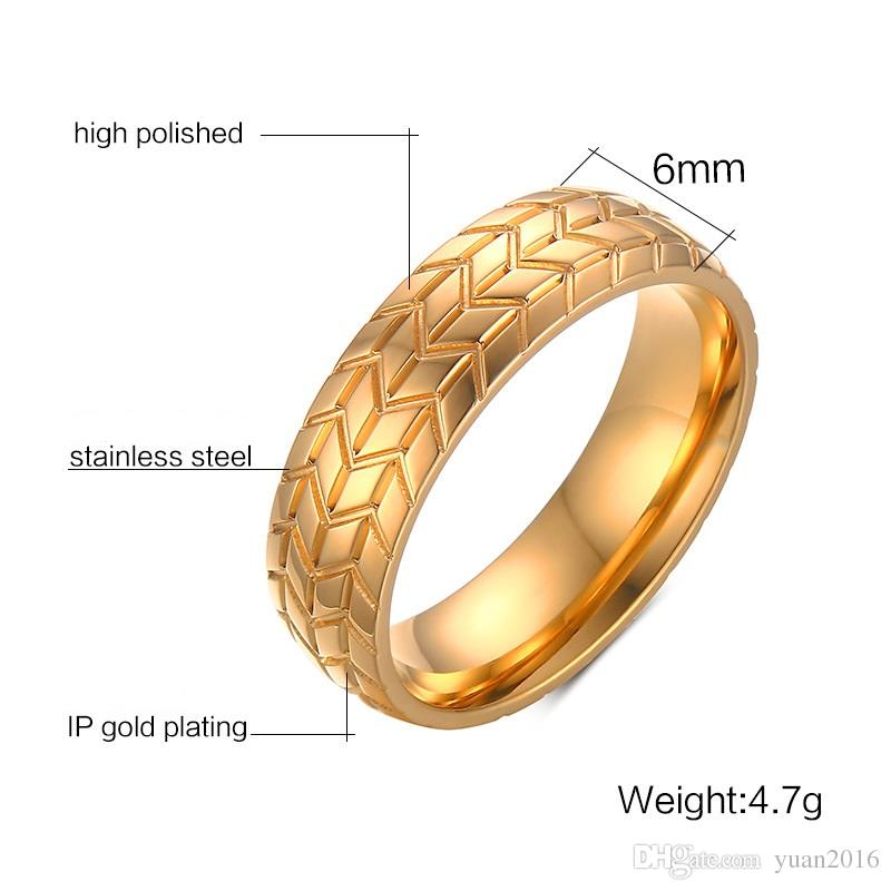 Wedding Ring 6mm Tyre Pattern Stainless Steel wedding Ring for men and women size 7-12 Hot sale! Wedding Engagement Promise Band