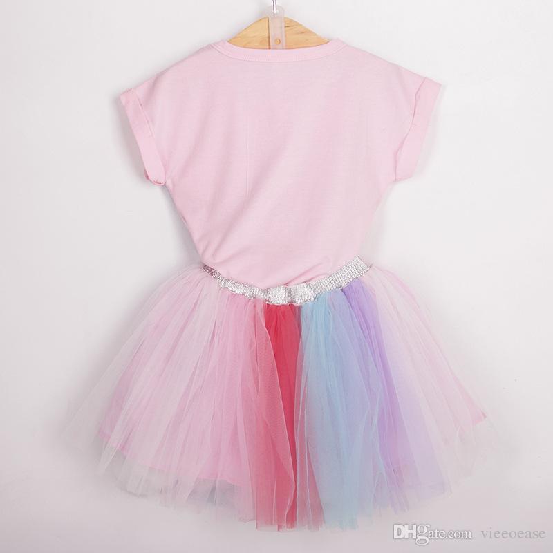 Kids Girls Unicorn Tops T-shirt Lace Tutu Skirt Outfit Dress Toddler Clothes