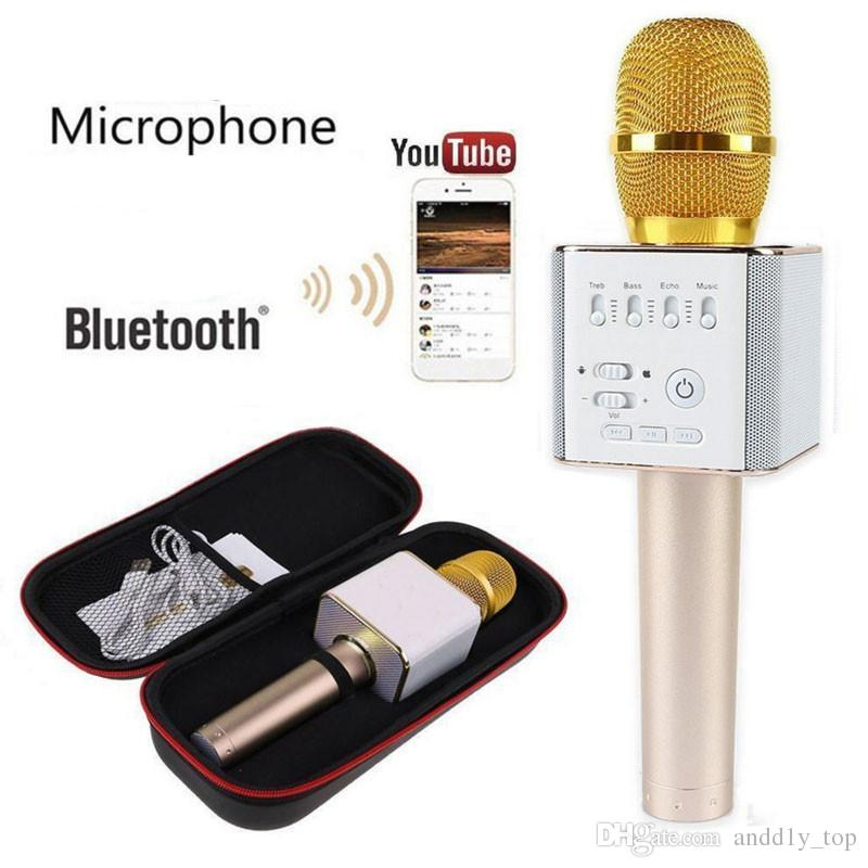 Magic Q9 Bluetooth Wireless Microphone Handheld Microfono KTV With Speaker Mic Loudspeaker Karaoke Q7 Upgrade For android phone 0802219