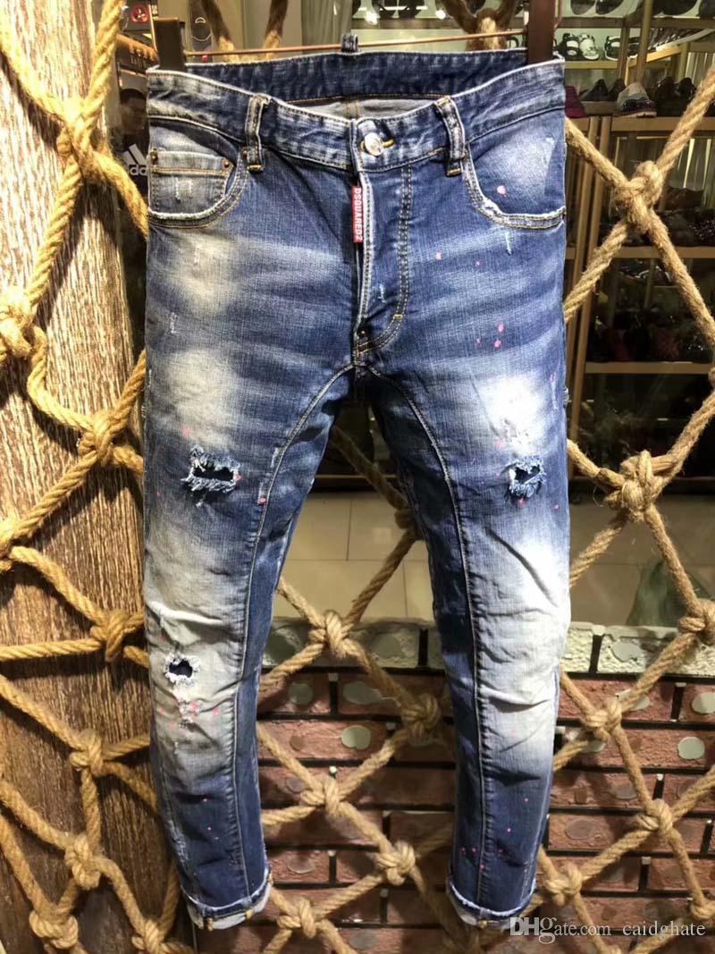 70e4ecc2d Compre Nueva Moda Jeans Hip Hop Rock Moto Para Hombre Ropa De Diseñador  Casual Apenado Ripped Skinny Denim Biker Jeans Hombres Pantalones D2 # 0140  A $96.86 ...