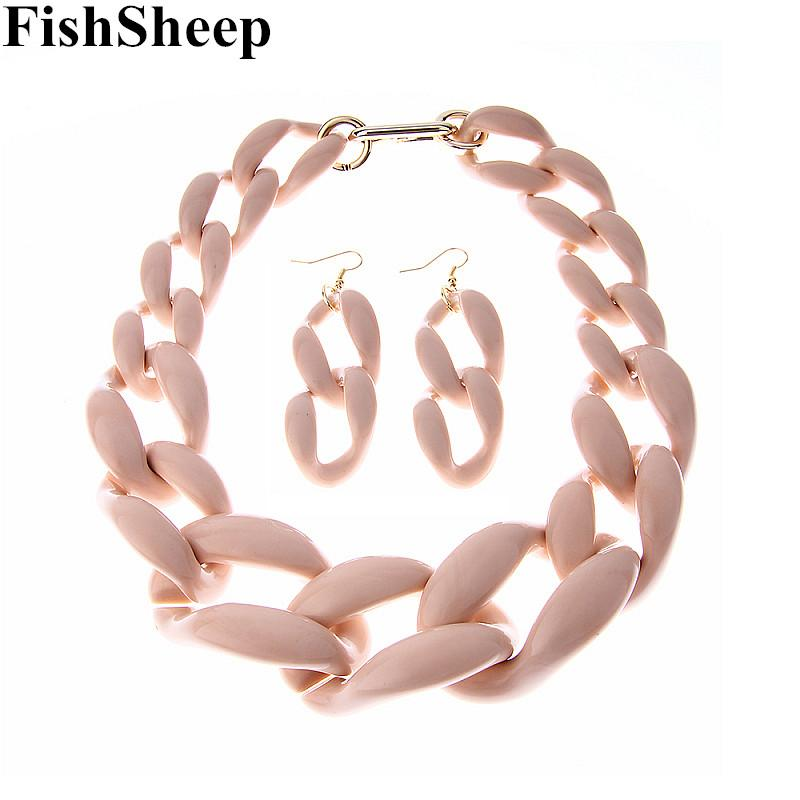 FishSheep New Fashion Acrylic Big Chunky Chain Necklace Set For Women Plastic Chain Necklace Earrings Jewelry Set Women Jewelry