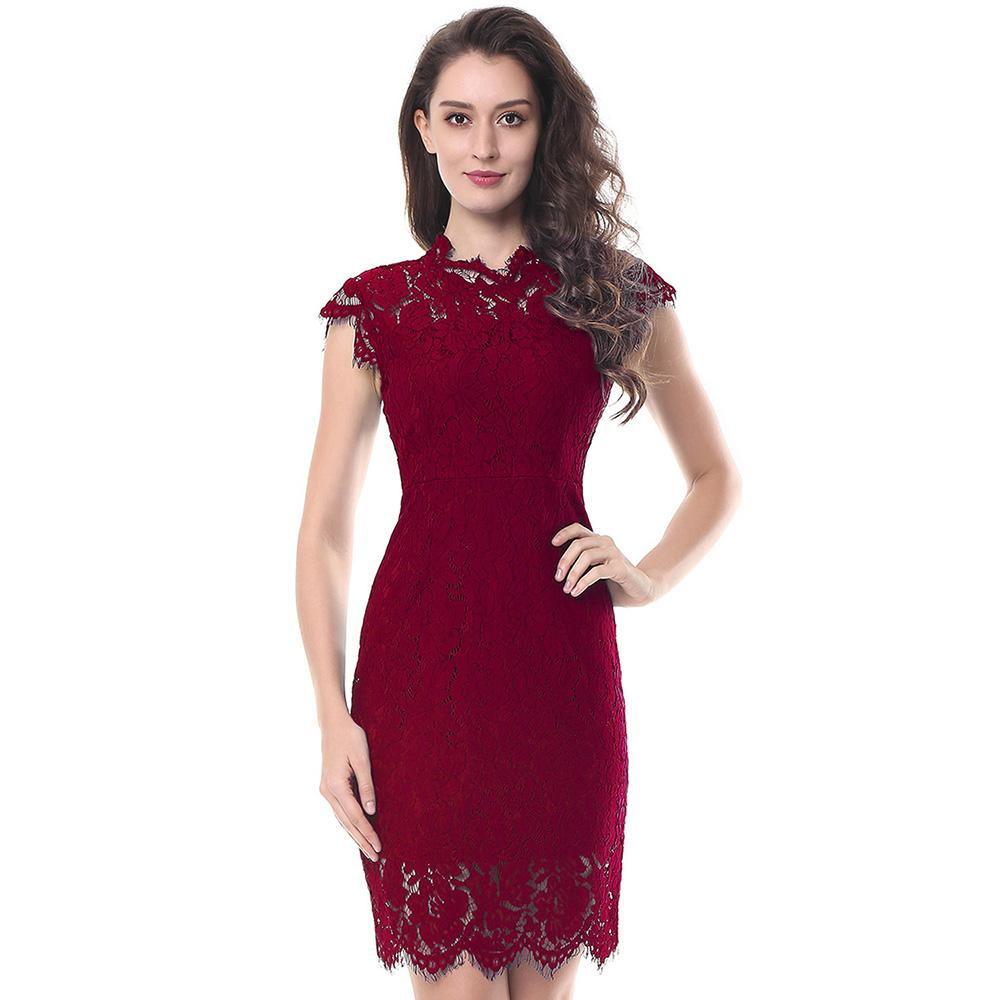 S-2XL Party Lace Dress Women Elegant Sleeveless Floral Eyelash Lace Bodycon Pencil Office Vestidos Silm 4 Colors Clothes