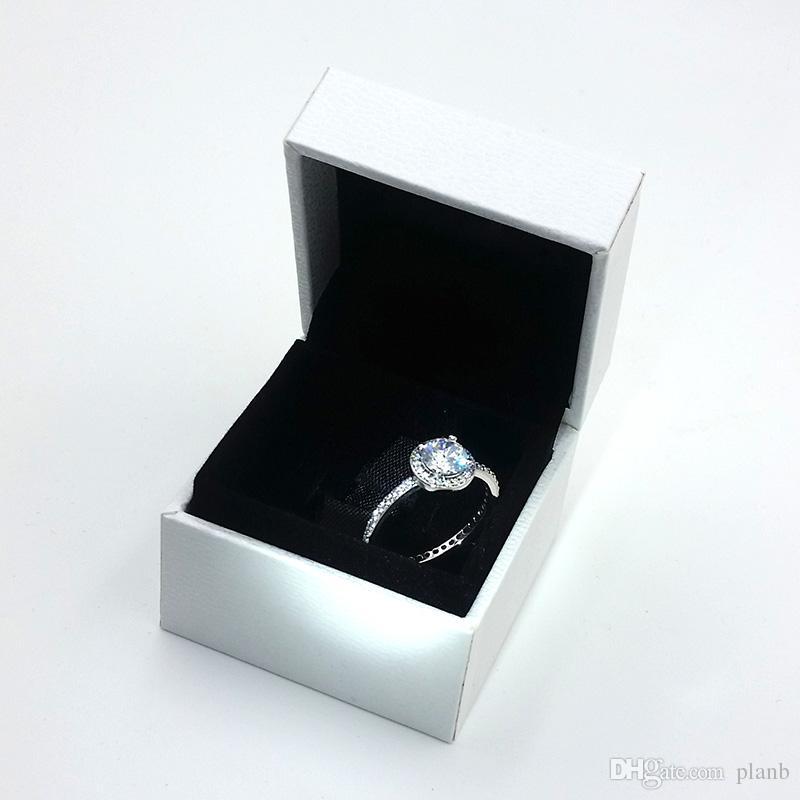 Femmes Cadeau Bijoux Real 925 Sterling Argent CZ Diamant Anneaux pour Pandora Classique Élégance Bague Original Box Set