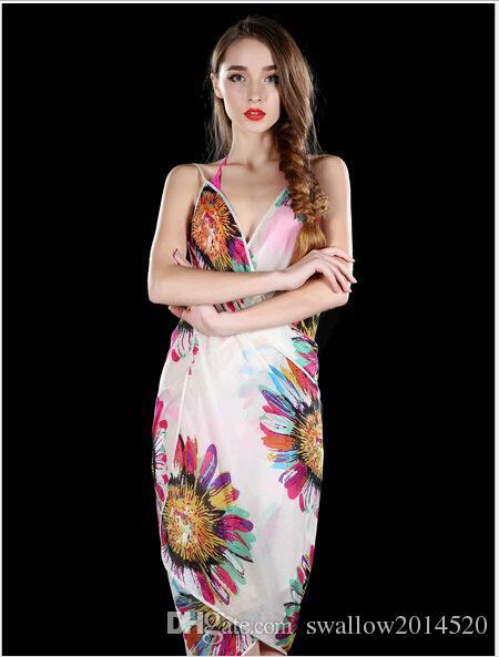 Women Floral Bikini Cover Ups Print Sexy Pareo Beach Dress Bohemian Sarong Chiffon Beach Bikini Wrap Swimwear Scarf Shawl Brace