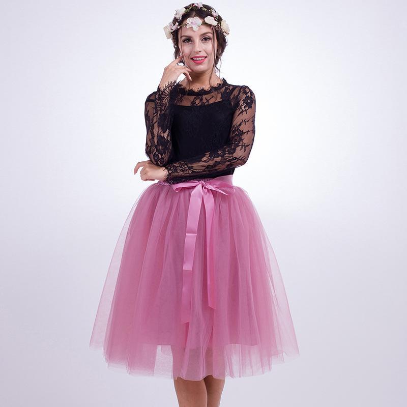 b7c1b2efb1 Compre 7 Capas 65 Cm Moda Tulle Falda Plisada Faldas Tutú Mujeres Lolita Enagua  Vintage Damas De Honor Falda Midi Saias Faldas Ropa A  26.18 Del Hiem ...