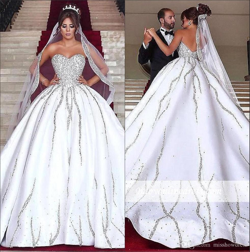 Buy Satin Beaded ball gown wedding dresses pictures trends