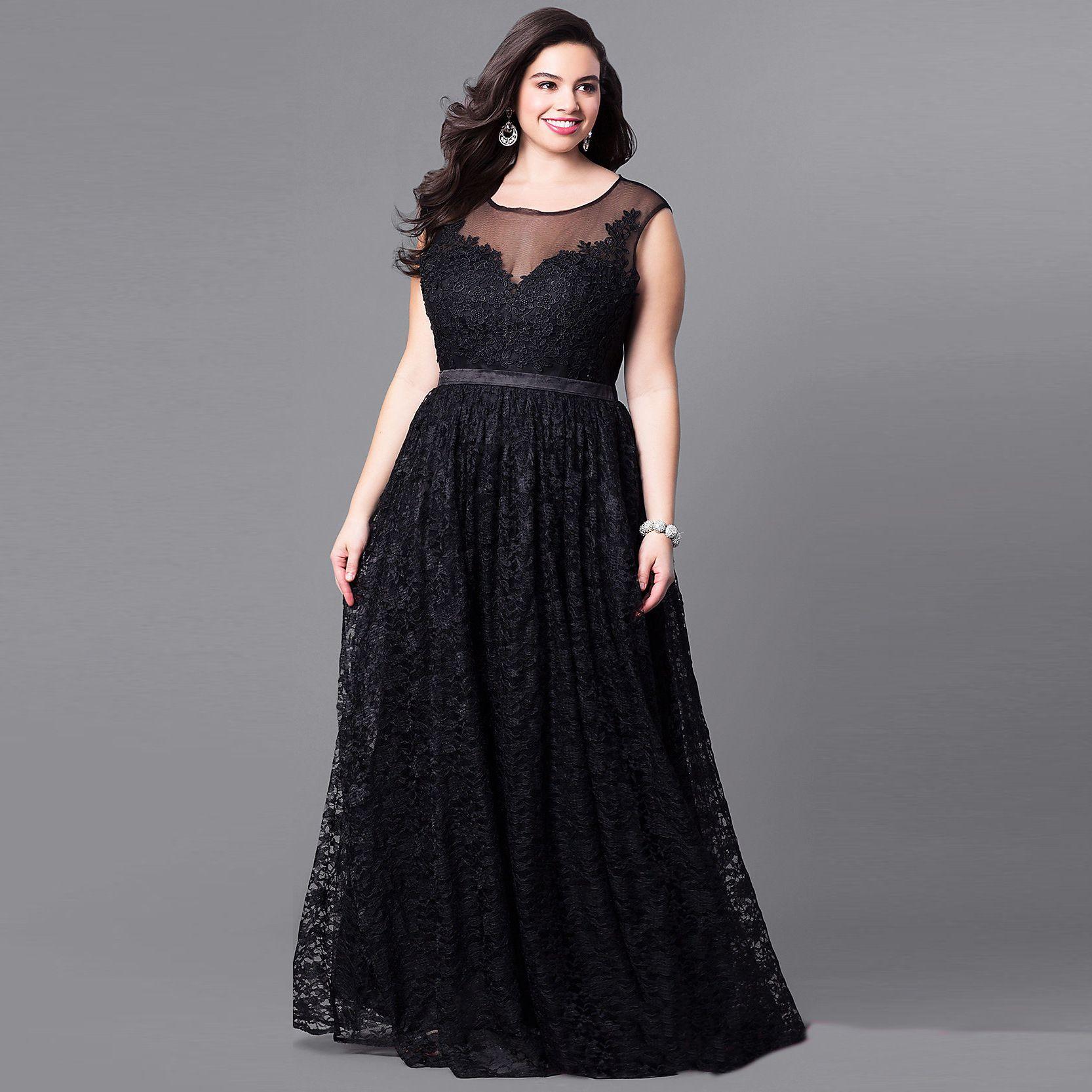Großhandel Plus Size Frau Vintage Kleid Schwarz Ärmellos Langes Abendkleid  17 Große Größe Aushöhlen Maxi Spitze Mesh Vestidos Elegant AF17 Von