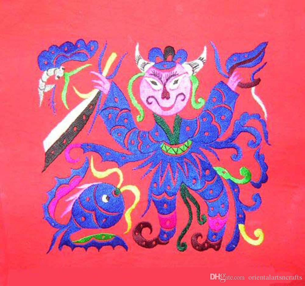 Chinese Embroidery Textile Art 100% Hand Stitch Ethnic Hmong Miao Artwork  #259