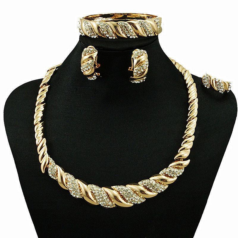 0bfaf78f3470 Compre Juego De Joyas De Cristal De Moda Para Mujer Collar De Color ...