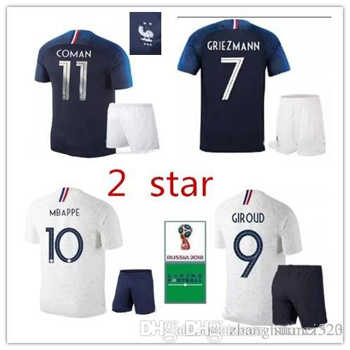 1805ea161b1 2 Stars 2018 World Cup Adult Kit Soccer Jersey Home 7 Griezmann ...