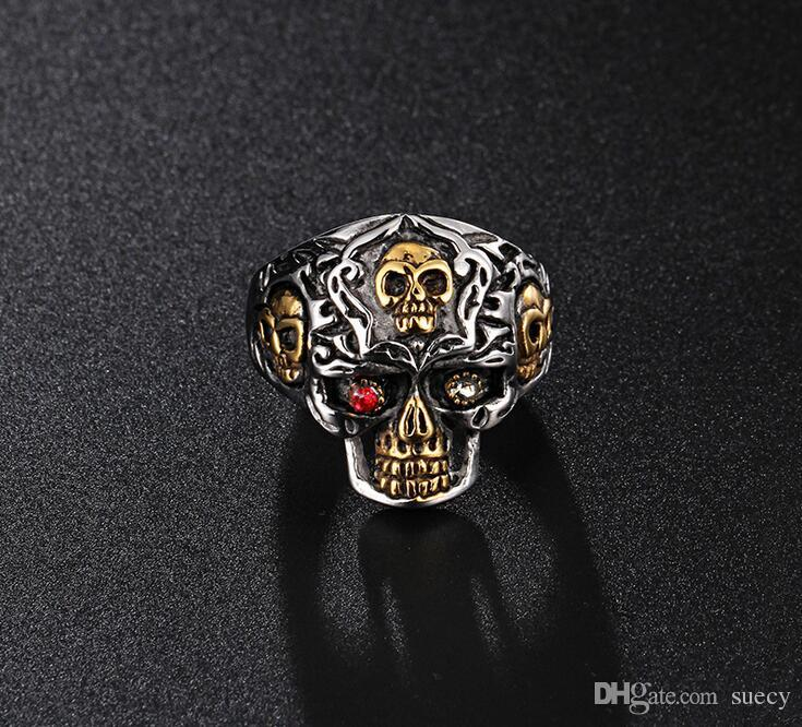 Punk Rock erkek Katı Kafatası Yüzük Gotik Biker Rider Kırmızı Gözler Taş Yüzük Vintage Paslanmaz Çelik İskelet Parmak Band Yüzükler erkekler Takı