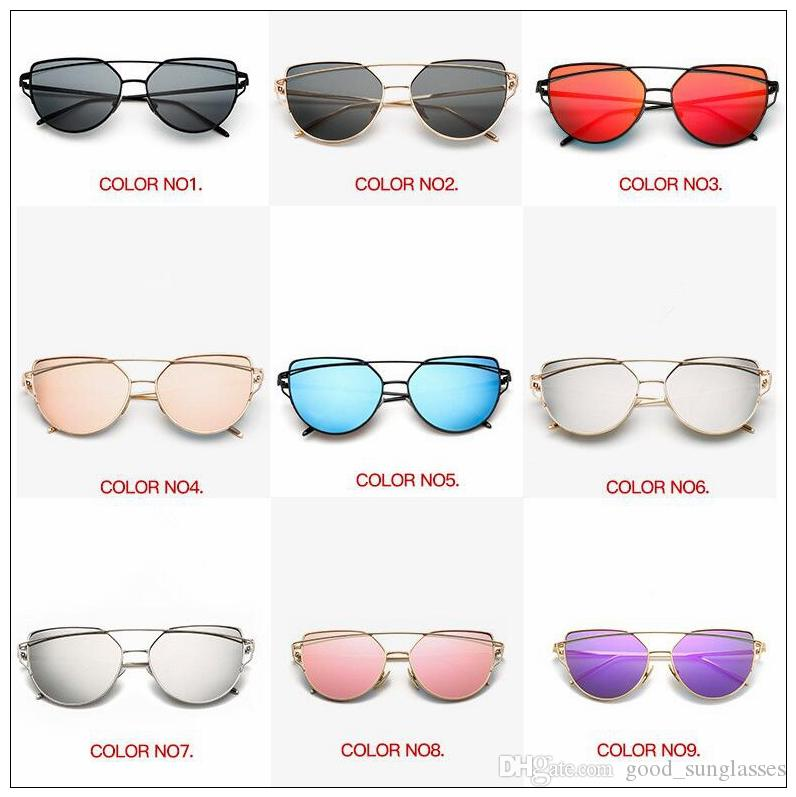 87788f59715f Vintage Lady Rose Gold Cat Eye Sunglasses Women Brand Design Twin Beams Mirror  Eyeglasses Frame Outdoor Eyewear CCA9194 Sunglasses For Women Cat Eye ...