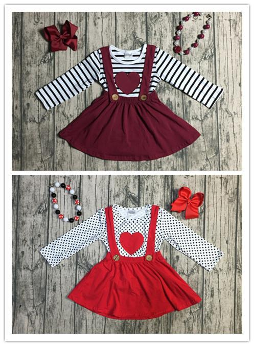 56d67a5c407f 2 designs Fall/winter baby girls Valentine's day clothes children top with suspender  skirts 2 pieces sets with accessories