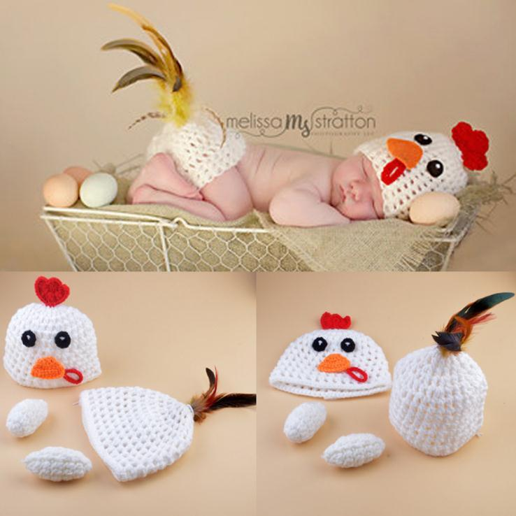 2019 Crochet Chicken Hat Butt Cover Set Knitted Infant Baby Chicken