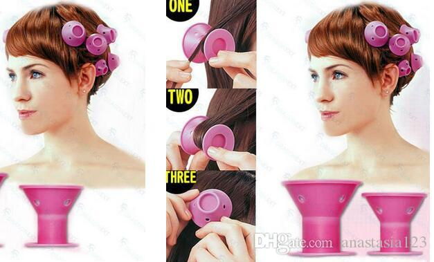 2018 silicone curlers Hairstyle Soft Hair Care DIY Peco Roll Hair Style Roller Curler Salon Soft Silicone Pink Color Hair Roller
