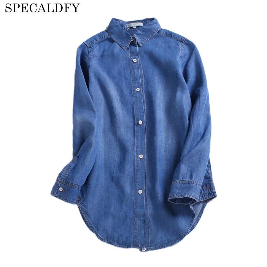 premium selection 79ddb 4a050 2018 Primavera Autunno Camicia di jeans Donna Vintage Camicetta manica  lunga Moda casual Jeans Camicette Donna Top Blusa Feminina