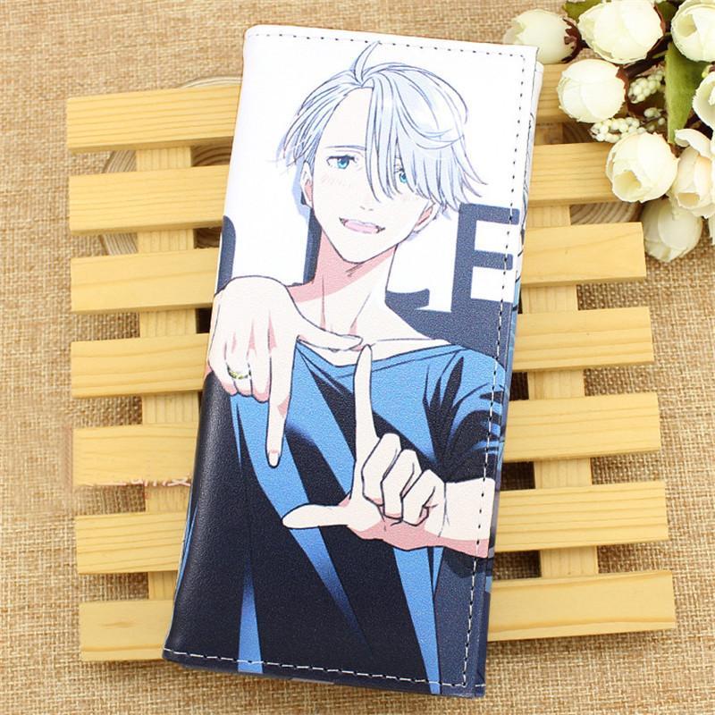 Anime Yuri En Hielo Cosplay Unisex Monedero Largo Victor Nikiforov PU Monedero de Dibujos Animados Titulares de la Tarjeta de Moda Estudiantes Estudiantes regalos