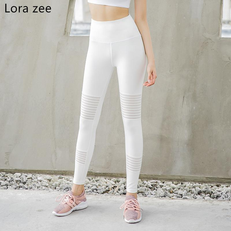catch shop for best hot products LORA ZEE Womens Workout Leggings High Waist Tummy Control White Yoga  Running Pants Front Mesh Moto Fitness Sport Pants