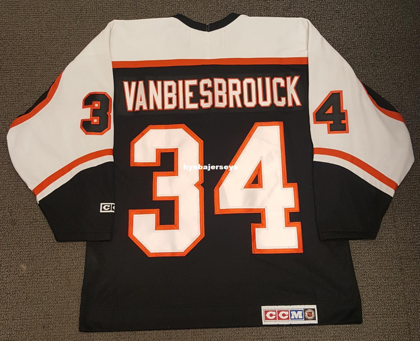 501d677ea Custom John Vanbiesbrouck Vintage Philadelphia Flyers CCM Cheap ...