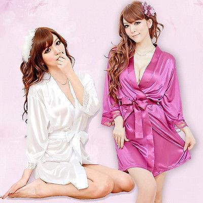 Sexy Silk Solid Kimono Dressing Gown Bath Robe Babydoll Lingerie Nightdress Nightgowns Sleepshirts