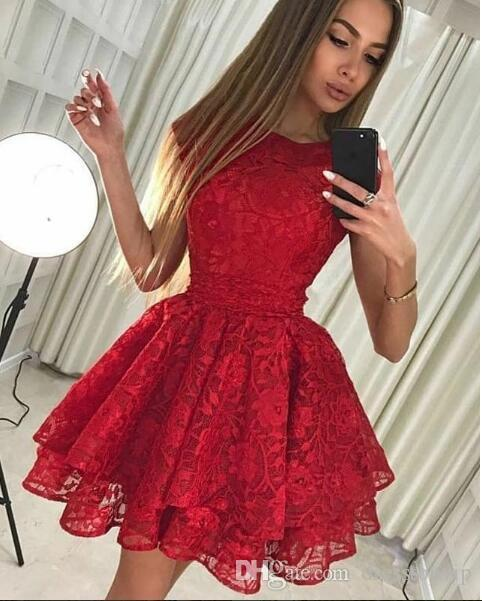 Mini 2019 Newest Red Lace Short African Prom Dresses Cocktail Party Dresses Sweet 15 Dresses Cheap