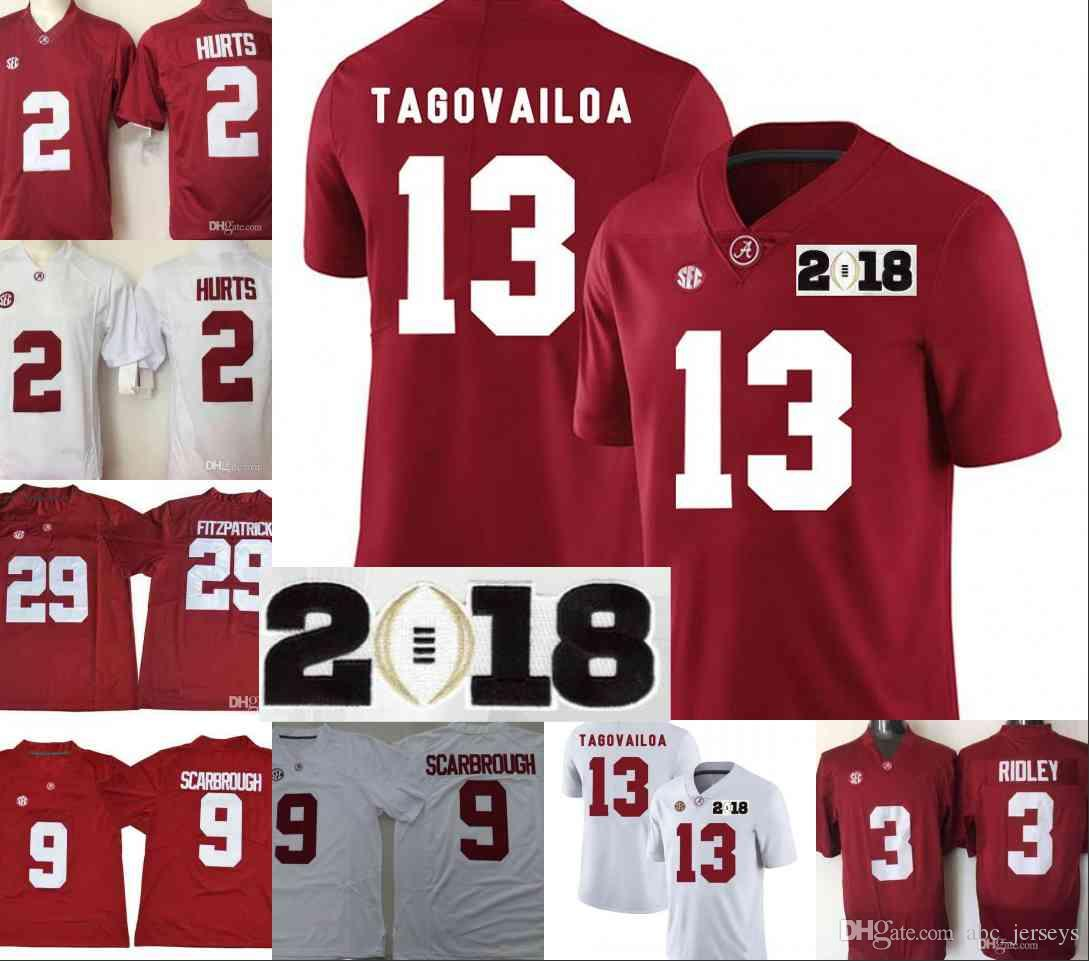 Alabama Crimson Tide Mens 13 Tua Tagovailoa 2018 NCAA Championship White  Jersey 2 Jalen Hurts 3 Ridley 29 Fitzpatrick 9 Bo Scarbrough UK 2019 From  ... 8c964bbe0