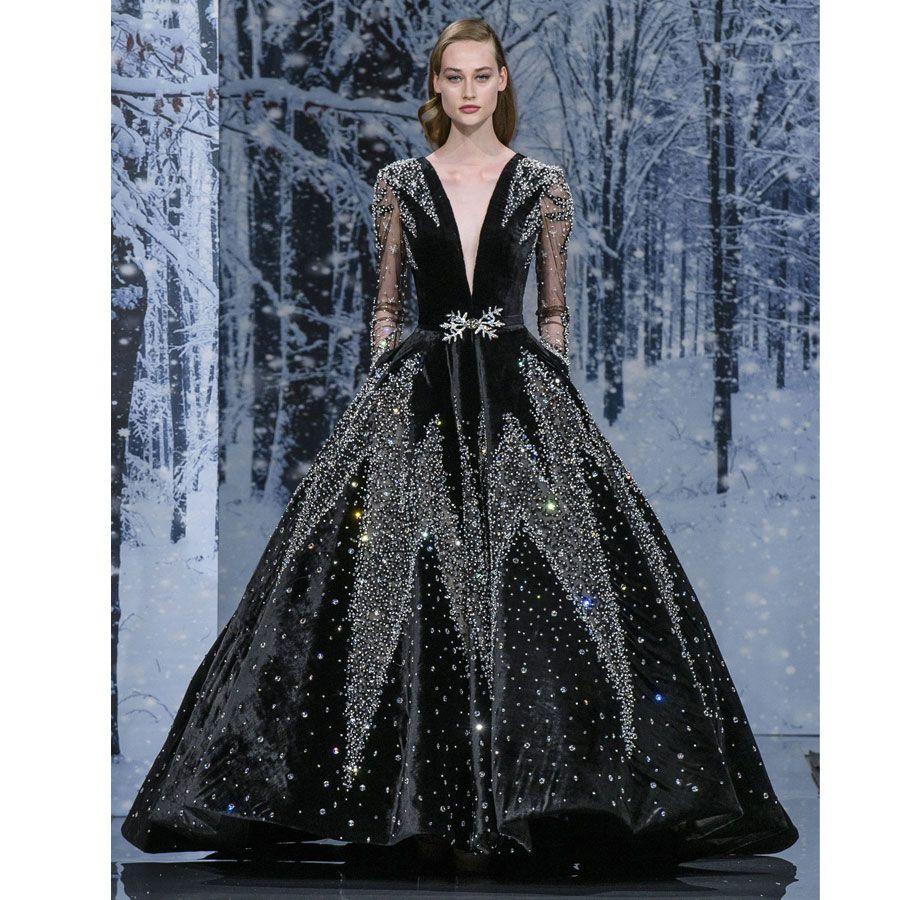 2018 Luxury Ziad Nakad Ball Gown Evening Dresses Deep V Neck Long Sleeves Sequined Prom Gowns Vestidos De Fiesta Velvet Beaded Formal Dress