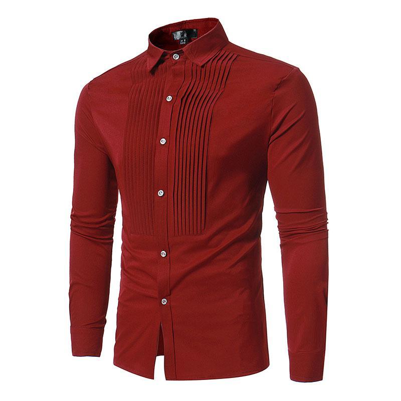 0dc94343b 2018 Solid color base Cardigan front pleat long-sleeved shirt Designer shirt  slim fit men's dress shirt Business Casual social T-shirts