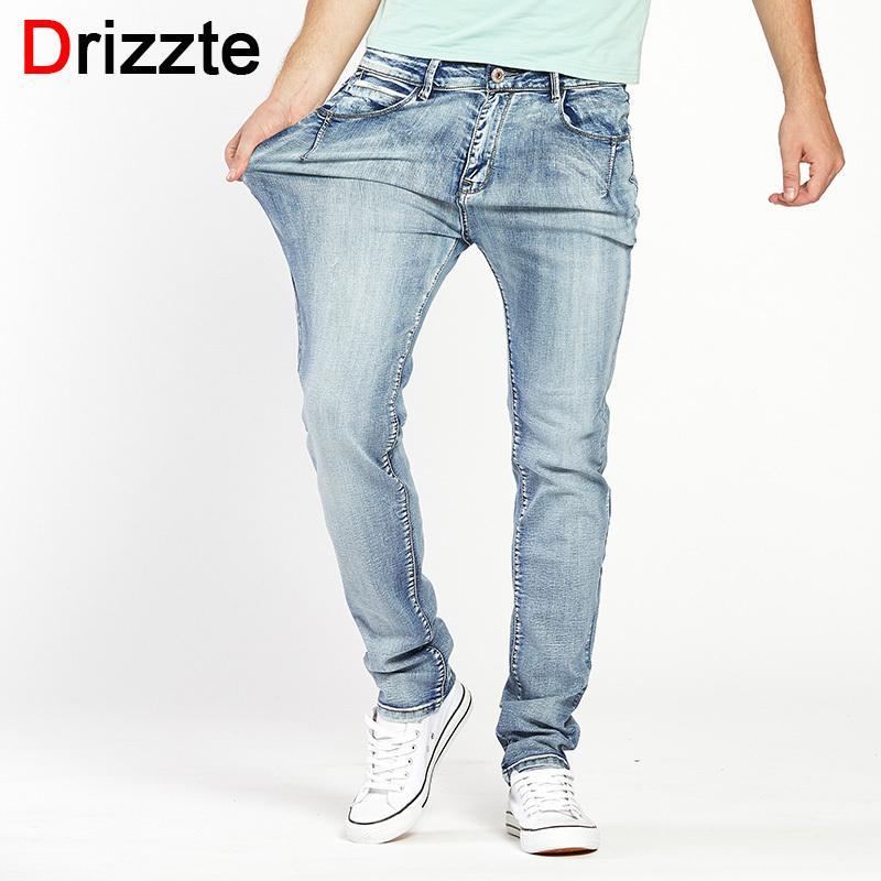 1a2fa01452c 2019 Drizzte Brand Mens Jeans Trendy Stretch Blue Grey Denim Men Slim Fit Jeans  Trousers Pants Size 30 32 34 35 36 38 40 42 44 Jean S913 From Ruiqi03