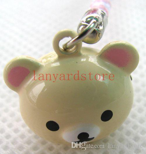 The image of the cute little bear Cell Phone Charm colour Strap Keychains Mixed Small Bell Charm