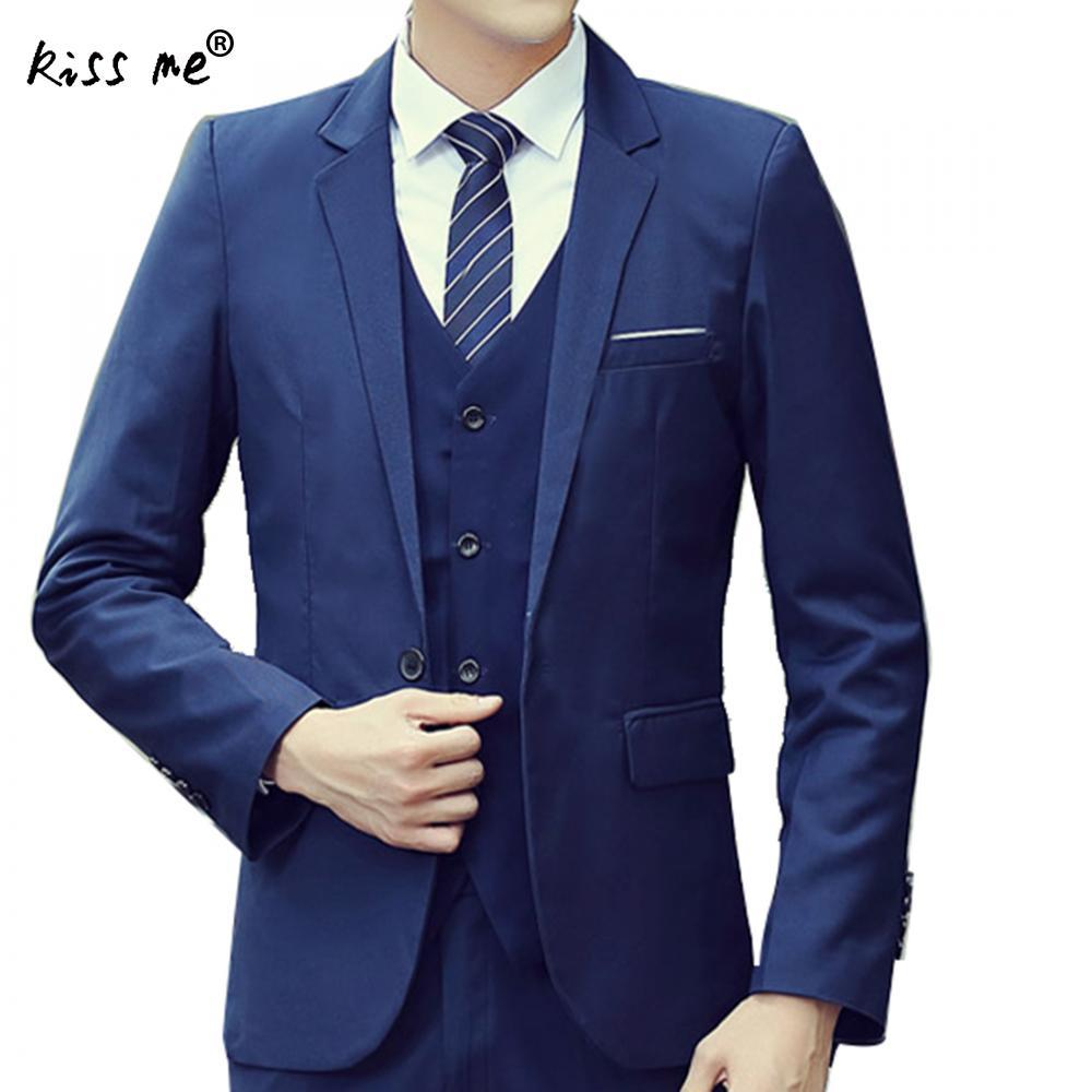 23c96e360f5 2019 2018 New Fashion Men'S Slim Suits Business Casual Three Piece Suit  Blazers Coat Pants Top Man Wedding Suit Navy Blue Blazer Set From  Florence33