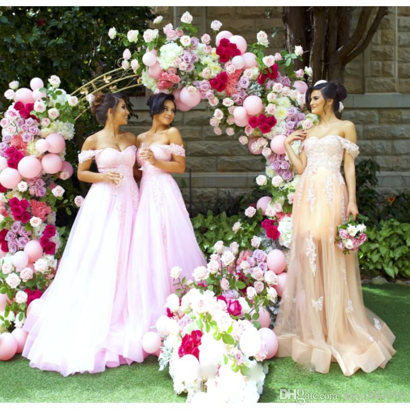 Blush Pink Wedding Party Dresses Lace Appliques Off Shoulder Tulle Floor Length Bridesmaid Dresses Charming Sexy A-Line Maid Of Hornor Dress