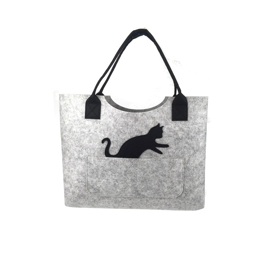 8acfd505363f Reusable FELT Big Capacity Women Supermarket Shopping Bag Cat Handbag Hand Tote  Bag Fashion Shoulder For Girls Cloth Bags Non Woven Bags From Gor2doe