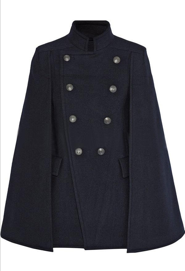 Fashion Autumn Winter Women's Handsome Double Breasted Wool Coat Stand Collar Blue Cloak Woolen Poncho Cape Jacket Plus Size
